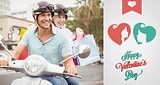 Composite image of hip young couple riding scooter with shopping bags