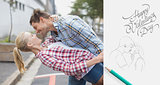 Composite image of hip romantic couple dancing in the street