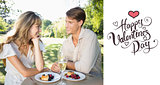 Composite image of cute couple having champagne and desert in the park