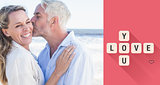 Composite image of man kissing his smiling partner on the cheek at the beach
