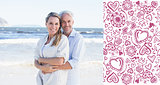 Composite image of happy couple hugging on the beach woman looking at camera