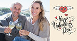 Composite image of couple enjoying white wine on picnic at the beach smiling at camera