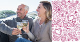 Composite image of couple enjoying white wine on picnic at the beach