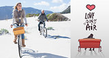 Composite image of carefree couple going on a bike ride on the beach