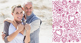 Composite image of happy hugging couple on the beach looking at camera