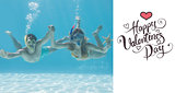Composite image of cute couple underwater in the swimming pool with snorkel and starfish