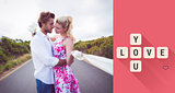 Composite image of cute couple standing on the road hugging