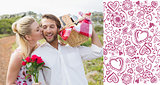 Composite image of cute couple going for a picnic with woman kissing boyfriends cheek