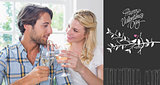 Composite image of cute smiling couple enjoying white wine together