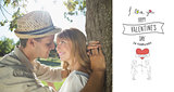 Composite image of cute smiling couple leaning against tree in the park