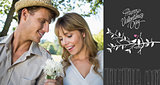 Composite image of smiling man offering his girlfriend a white flower in the park
