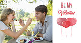 Composite image of cute couple feeding each other dessert