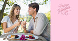 Composite image of cute happy couple sitting outside toasting with champagne with dessert