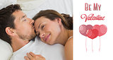 Composite image of relaxed couple sleeping together in bed