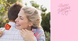 Composite image of smiling young couple embracing in park