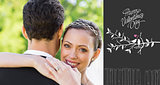 Composite image of portrait of happy bride embracing groom