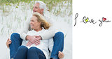 Composite image of romantic senior couple relaxing at beach