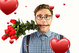 Composite image of geeky hipster biting a bunch of roses