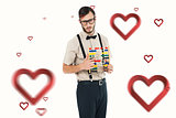 Composite image of geeky hipster holding an abacus