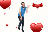 Composite image of geeky hipster dancing like a fool