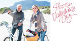 Composite image of carefree couple going on a bike ride and picnic on the beach