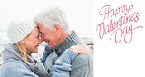 Composite image of side view of a romantic senior couple