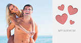 Composite image of laughing man giving his pretty girlfriend a piggy back smiling