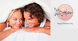 Composite image of couple under a duvet with a knowing smile