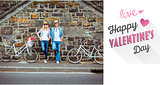 Composite image of hip young couple standing by brick wall with their bikes