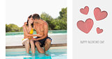 Composite image of gorgeous couple sitting poolside on holidays