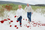 Composite image of cheerful senior couple running at beach