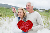 Composite image of cheerful romantic senior couple at beach