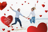 Composite image of cheerful couple holding hands and jumping at beach