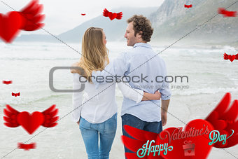 Composite image of rear view of a romantic couple at beach