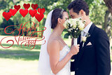 Composite image of couple kissing behind bouquet in garden