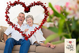 Composite image of happy senior couple relaxing on sofa