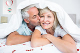 Composite image of closeup of mature man kissing womans cheek in bed