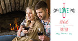 Composite image of couple with wineglasses in front of lit fireplace