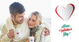 Composite image of loving couple in winter wear with coffee cups against window