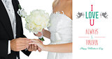 Composite image of young bridegroom putting on the wedding ring on his wifes finger