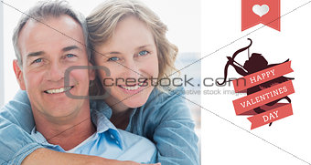 Composite image of smiling woman hugging her husband on the couch from behind