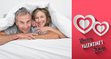 Composite image of cheerful couple under the duvet