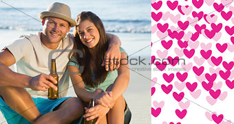 Composite image of smiling couple embracing while having a drink together