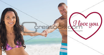 Composite image of smiling couple holding hands