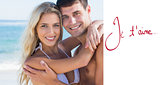 Composite image of beautiful couple hugging and smiling
