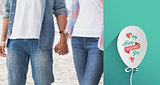 Composite image of hip young couple holding hands
