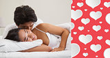 Composite image of couple lying in bed and cuddling