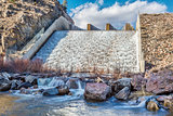 spillway of mountain reservoir