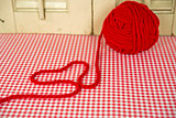 red yarn heart