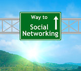 Social Networking Green Road Sign